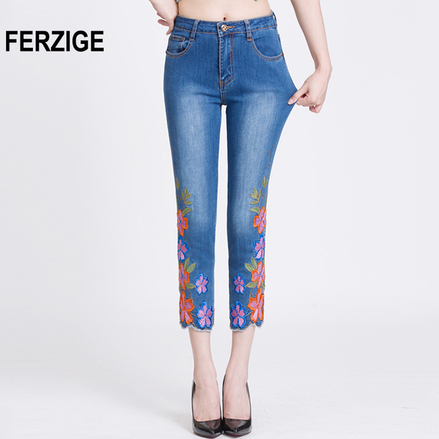 2136d0bffb4 FERZIGE Women s Jeans High Waist Embroidered Floral Brand Summer Ankle Jean  Ladies Pants Elastic Slim Fit Skinny Push Up Mom 36