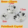 Claro Como el cristal de Forma Cuadrada de Cristal Fancy Stone Point Volver Cristal de Piedra Para La Joyería de DIY Accessory.8mm 10mm 12mm 14mm 18mm 23mm