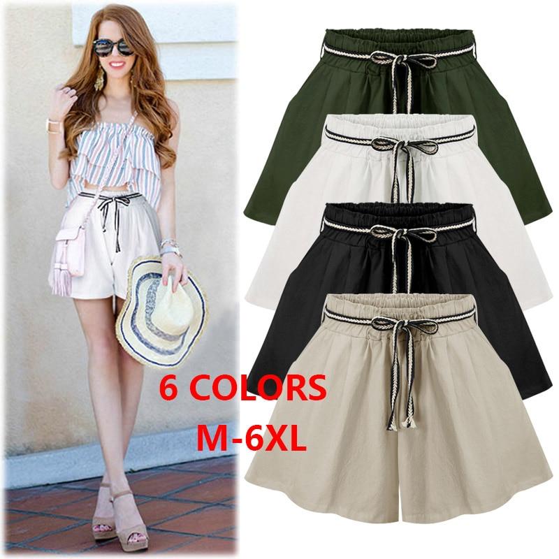 f7458a132b8 Summer Plus Size Shorts M - 6XL 3XL 4XL 5XL High Waist Loose Drawstring  Cotton Solid