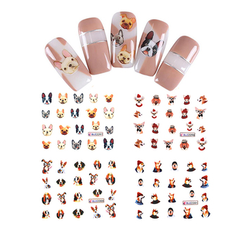 11 Sheets Cute Dog Nail Art Decals Bulldog Mixed Water Transfer Stickers Nail Wrap Accessory Decor DIY Beauty Manicure Decals Stickers & Decals