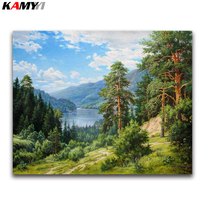 2019 Latest Design Diy Diamond Painting Landscape Handmade Full Diamond Embroidery Beads Lake Forest 5d Square Diamond Mosaic Full Paste Pattern With Traditional Methods Home & Garden