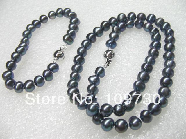 Joyería 00582 venta al por mayor 10 Sets 7 8 mm perlas de agua dulce negro conjunto de collar y pulsera