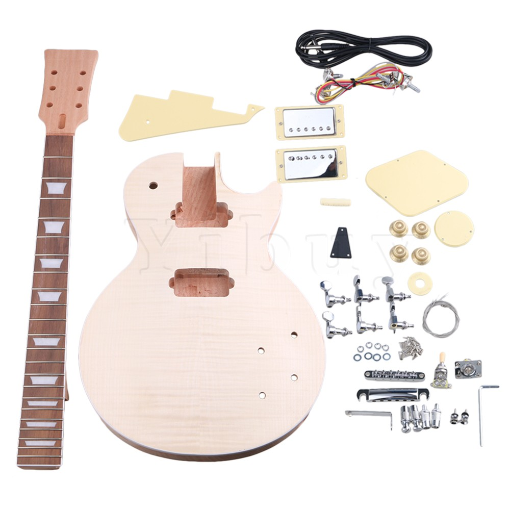Yibuy Maple 2 Single Coil Pickup 21/22F Electric Guitars DIY Builder Kit With All Accessories yibuy gold vintage lipstick tube pickup for single coil electric guitar