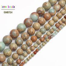 033e5b3268ee Natural genuino ShouShan piedra serpiente piedra azul redondo cuentas para  hacer joyas 4 6 8 10 12mm elegir tamaño 15 pulgadas D..