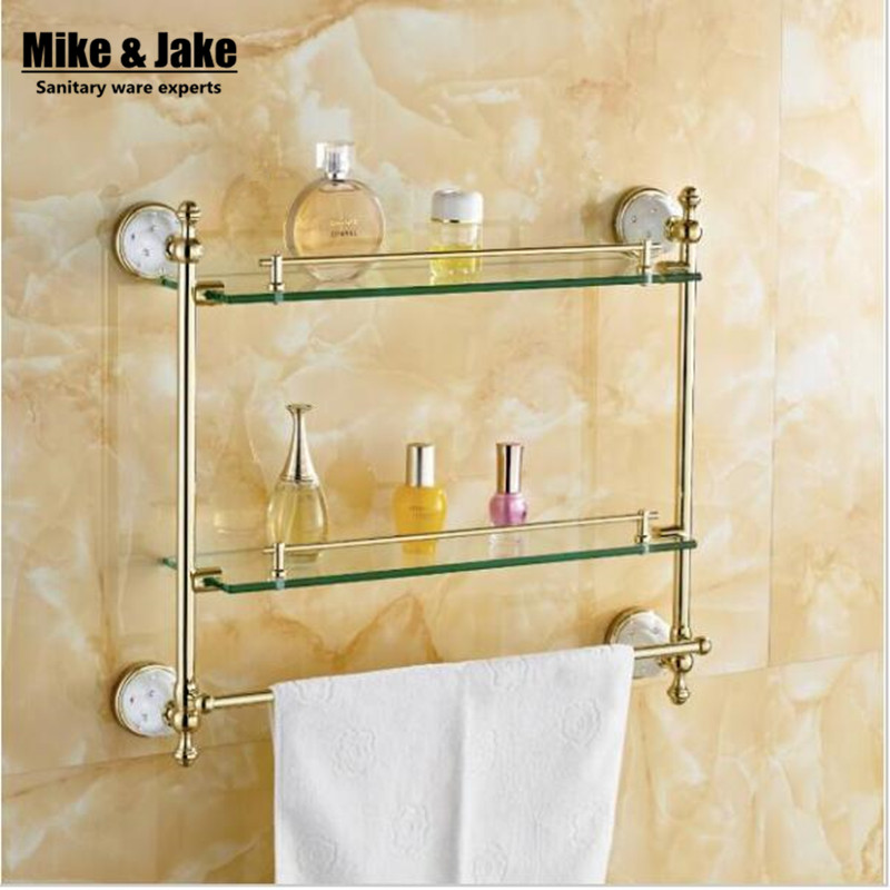 Bathroom accessories solid brass golden finish with - Bathroom accessories glass shelf ...
