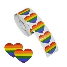 Gay Pride Sticker Love Rainbow Heart Shape Flag Label Gift Craft Envelope
