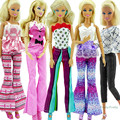 Free Shipping 5 Sets Randomly Pick Fashion Lady Outfit Fashion Wear Blouse Trousers Shorts Pants Skirt Clothes For Barbie Doll