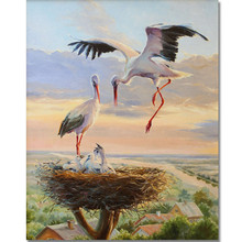 WEEN Crane couple DIY Painting by Numbers for Adults, Modern Wall Art Picture, Paint Number Kits on Canvas with Brush