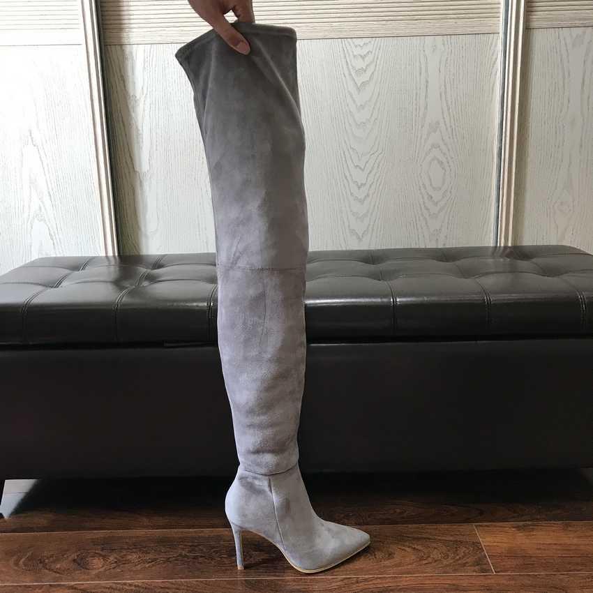 2019 Thương Hiệu Nữ Thu Đông Giày Dài Co Giãn Ôm Đùi Cao Cấp Giày Bốt Thời Trang Trên Đầu Gối Giày Cao Gót Giày người phụ nữ