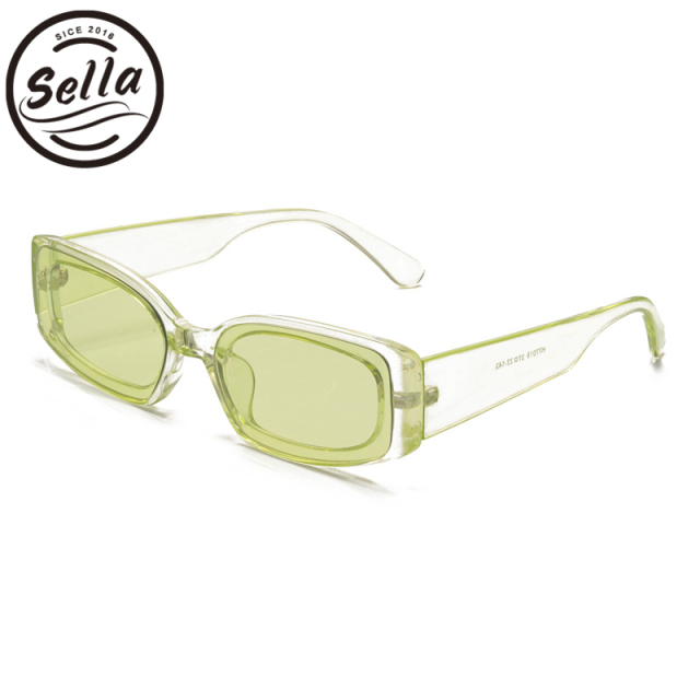 a214727371 Sella European Style Small Narrow Frame Trending Rectangle Candy Color  Sunglasses Women Men Tint Lens Transparent Frame Glasses
