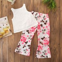 Toddler Children Girl Clothes Sleeveless Top+Floral Long Pant Set Infant Baby Kid Girl Cloths Outfit Fashion Cute