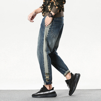 2017 Autumn Japanese Men S Biker Elasticity Baggy Jeans Haren Denim Pants Casual Fashion Brand Hip