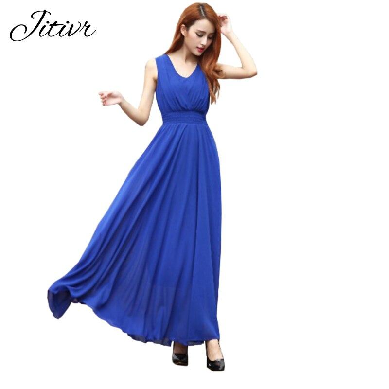 Summer Dress 2018 Bohemian Womens Dress Long Solid Dress Slim Sleeveless Beach Dress For Female V-Neck 6 Color Cute Style