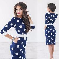 Women Summer Dress O Neck Polka Dot Print Pencil Dress Half Sleeve Bodycon Office Party Dresses