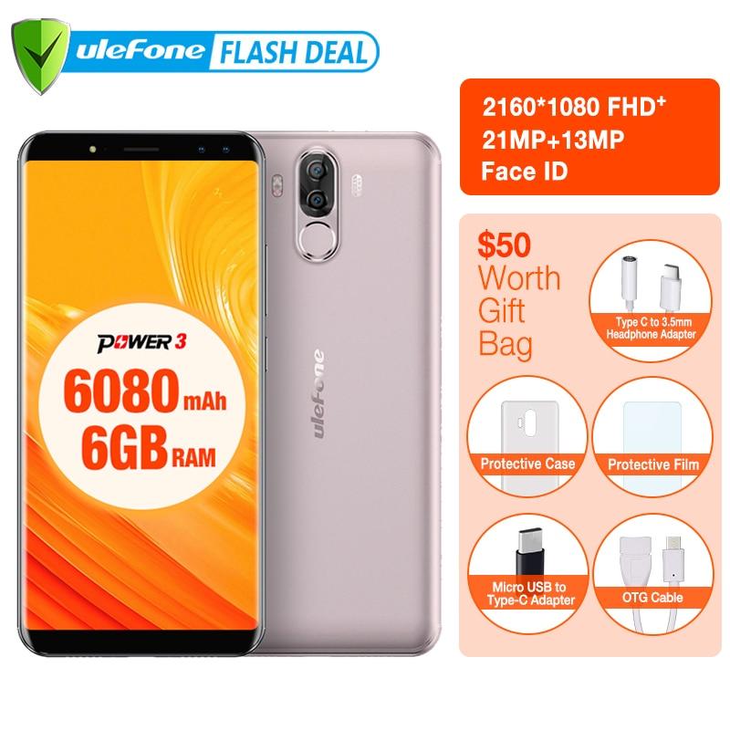 Ulefone Power 3 6080 мАч большая Батарея смартфон 6 ГБ + 64 ГБ 6.0 FHD + MTK MT6763 Octa core Android 7.1 Face ID 4G мобильный телефон