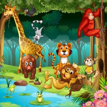 Laeacco Forest Animals Baby Children Safari Party Photography Backgrounds Custom Photographic Backdrops For Home Photo Studio цена