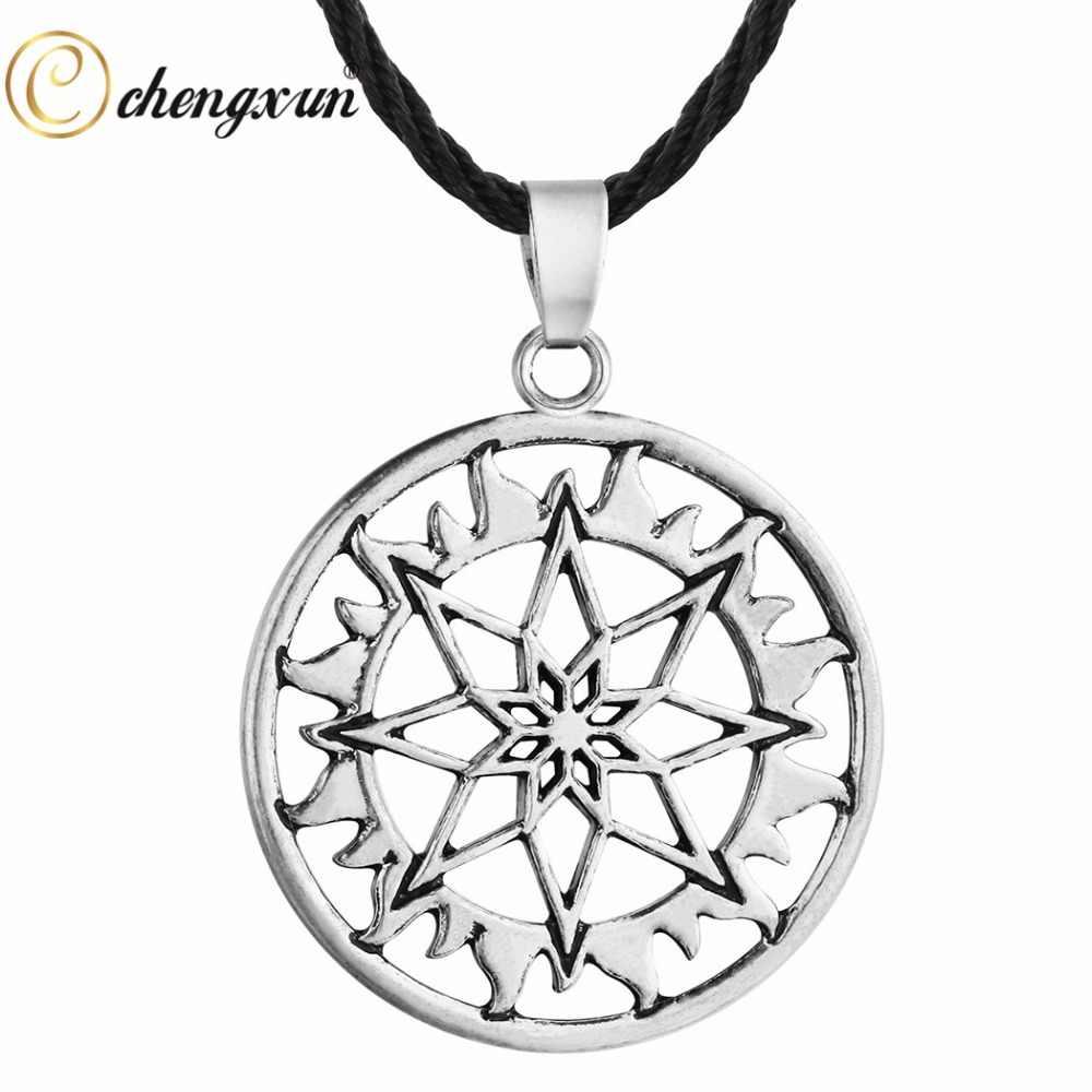 CHENGXUN Antique Viking Mặt Dây Chuyền Vòng Cổ Người Đàn Ông Vòng Cổ Alatyr Sao Slavic Jewelry Sun Biểu Tượng Bùa mặt dây chuyền Charm Best Friend