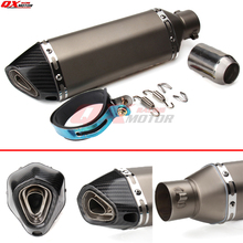 51mm Carbon fiber with Stainless steel motorcycle Exhaust Pipe Muffler for CBR CB400 CB600 CBR600 CBR1000
