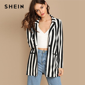 Image 1 - SHEIN Black And White Notch Collar Striped Textured Blazer Women Spring High Street Long Sleeve Single Button Casual Outer