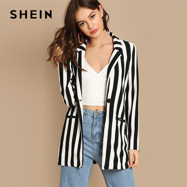 SHEIN Black And White Notch Collar Striped Textured Blazer Women Spring High Street Long Sleeve Single Button Casual Outer