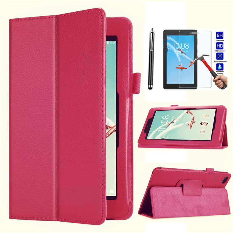 XSKEMP Slim Litchi Folio Leather Stand Case Flip Cover For <font><b>Lenovo</b></font> Tab E8 / Tab 8 <font><b>TB</b></font>-8304F <font><b>TB</b></font>-<font><b>8304F1</b></font> 8.0 + Tempered Glass Film image