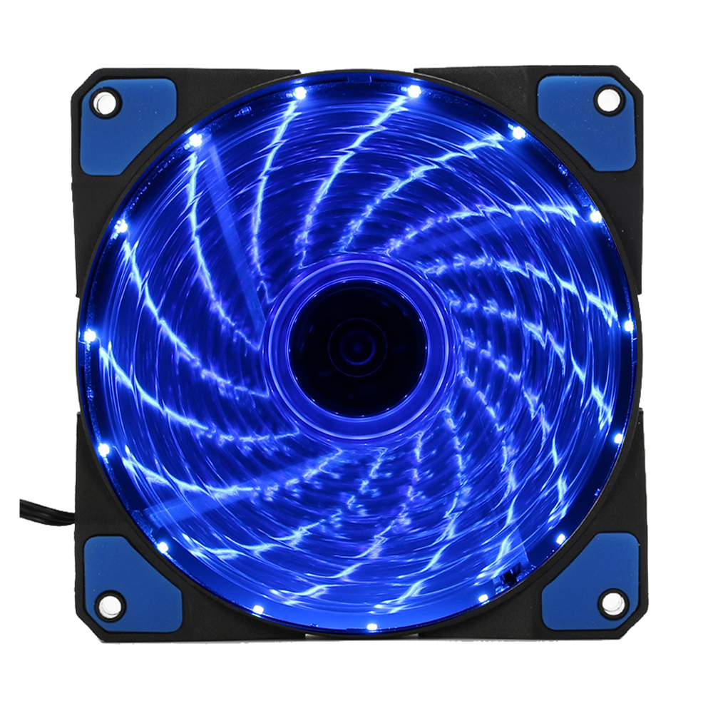 15 Lights LED PC Computer Chassis Fan Case Heatsink Cooler Cooling Fan DC 12V 4P 120*120*25mm blue abs case with cooling fan heatsink removable top cover