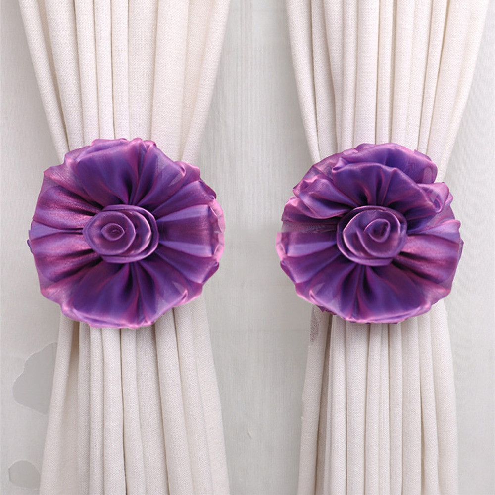 Holdbacks For Voile /& Net Curtain Panels Silver 2 x Plum Blossom Tie Backs