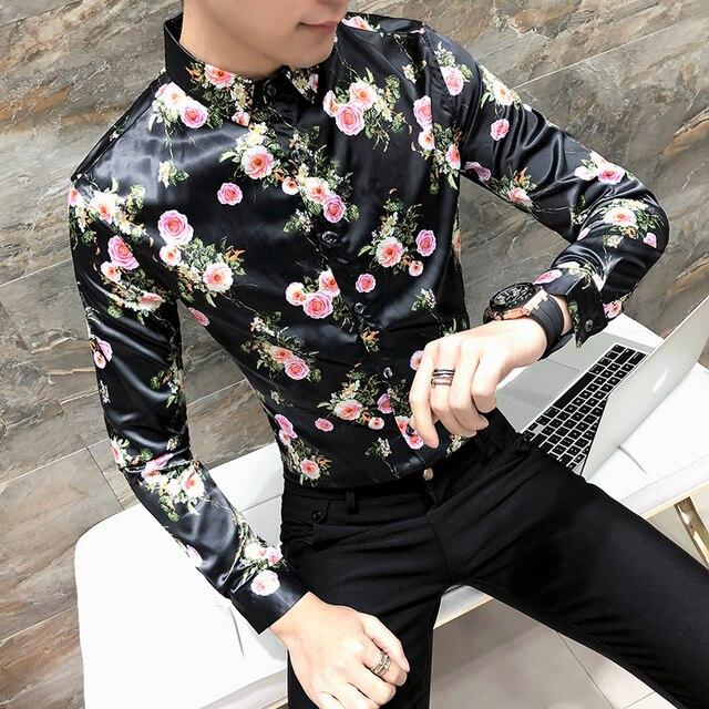 999f4bb4c84e071 2018 мужские Цветочный принт Рубашки для мальчиков Мужские цветы Рубашки  для мальчиков Slim Fit Платье черного