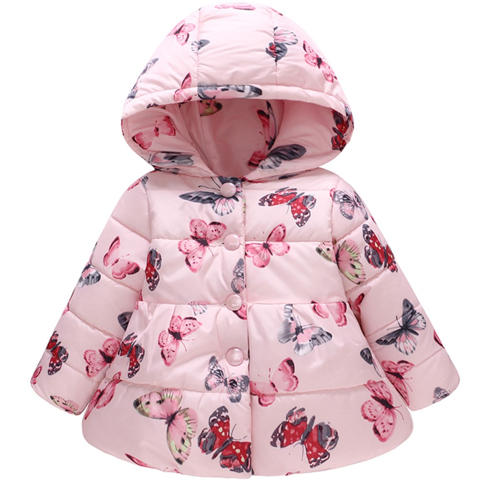 Baby Girls Clothing Coat Winter Cotton Jacket Children Warm Clothes Printing Butterfly Coat for Infant Girls