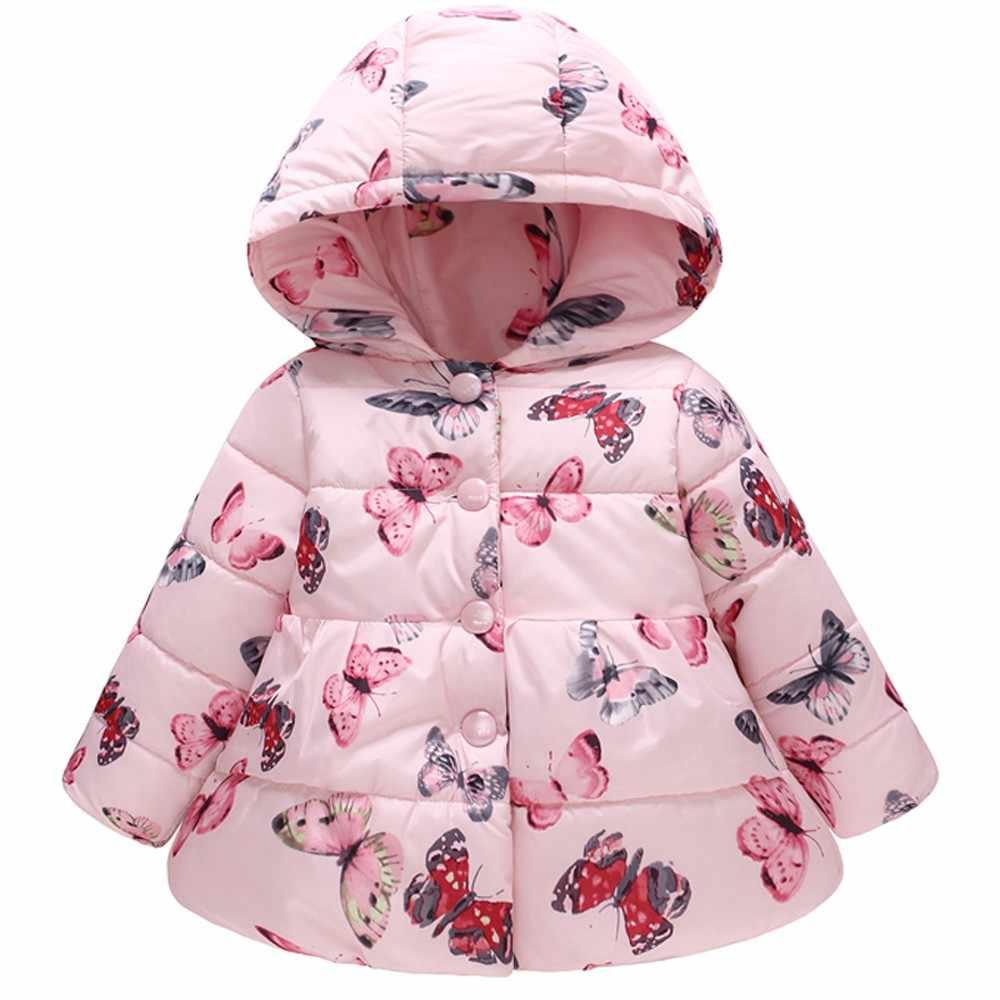 Toddler Baby Girl Boy Butterfly Winter Thick Warm Jacket Hooded Windproof girls coat kids jacket manteau bebe fille