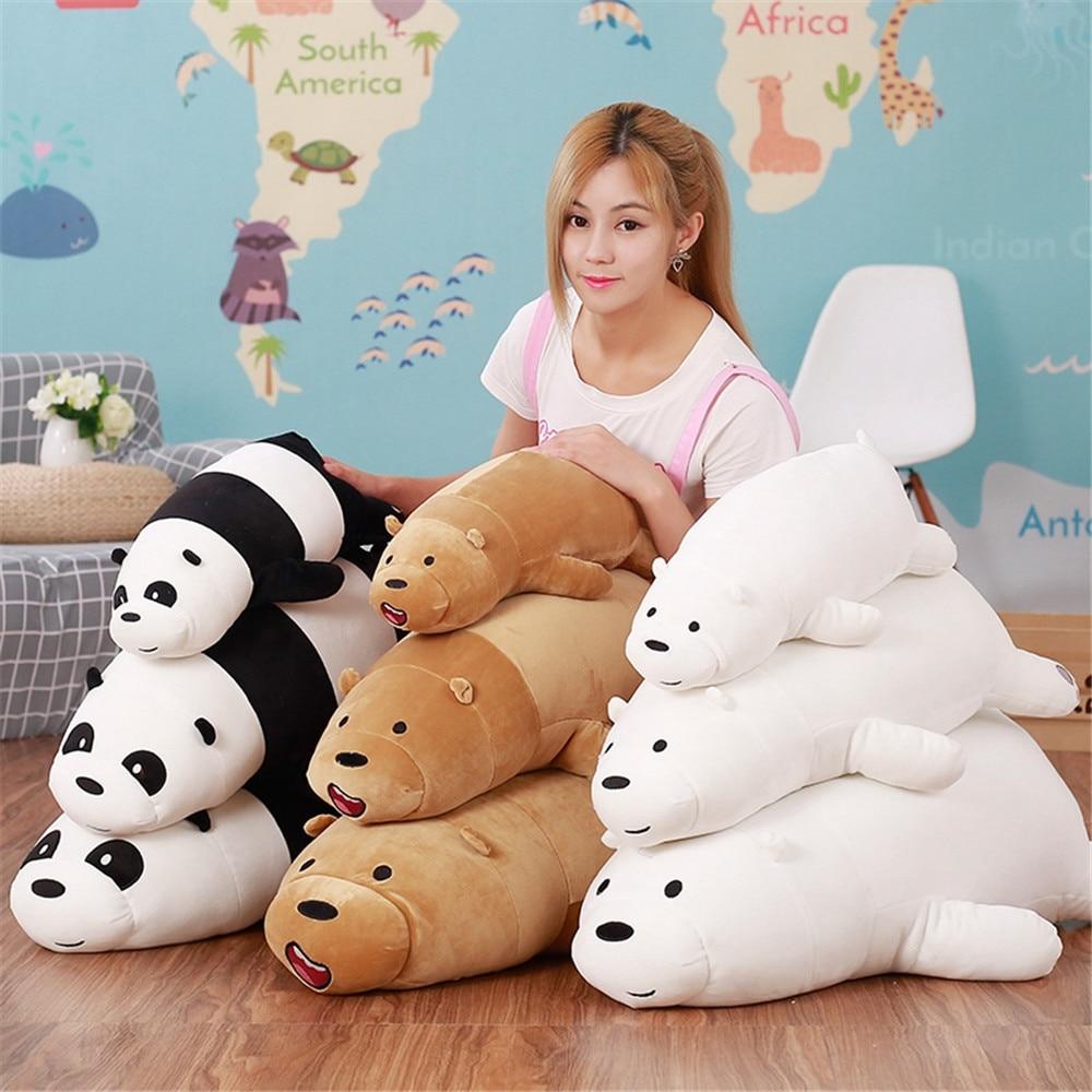 Giant 70cm Super Soft We Bare Bears Lying plush Bear Stuffed Grizzly Gray White Bear Panda Cartoon Dolls Gifts Toys for Children цена и фото