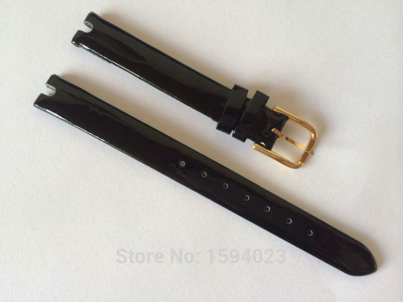 10mm (Buckle10mm) T003209 T-TREND High Quality gold Plated Pin Buckle + Black Genuine Leather Watch Bands Strap