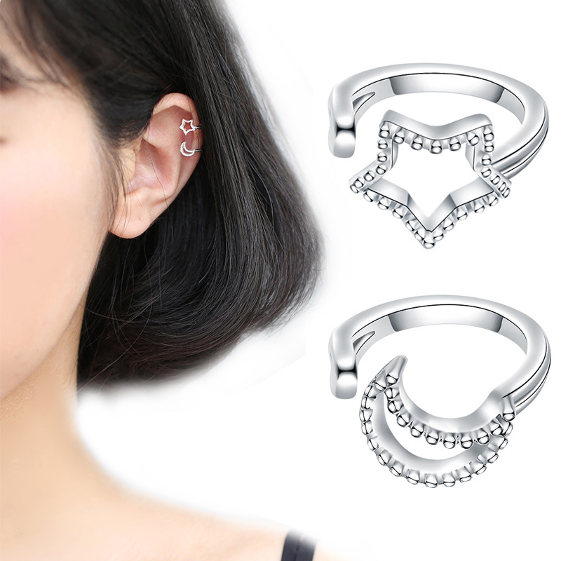 Fashion Women 925 Silver Plated Crystal Square Ear Stud Clip Earrings Jewelry