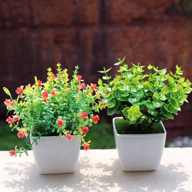 Mini Artificial Flowers Bonsai Plants Potted Creative Home