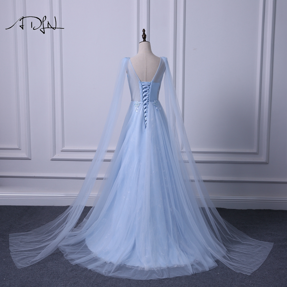 ADLN Elegant V neck Evening Dresses Long Fashionable Blue Prom Gown Dress with Watteau Train A line Formal Wedding Party Dress - 6