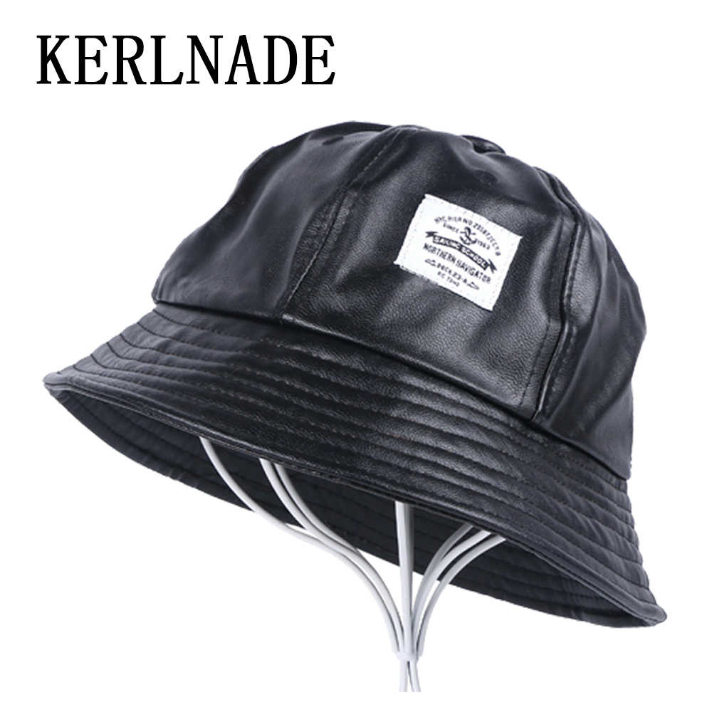 men s women s casual Bucket Hats thick PU leather hat simple design black  dome style spring autumn eb544d6e9dcf