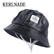 91e4fd35 men's women's casual Bucket Hats thick PU leather hat simple design black  dome style spring autumn winter hat for girl female