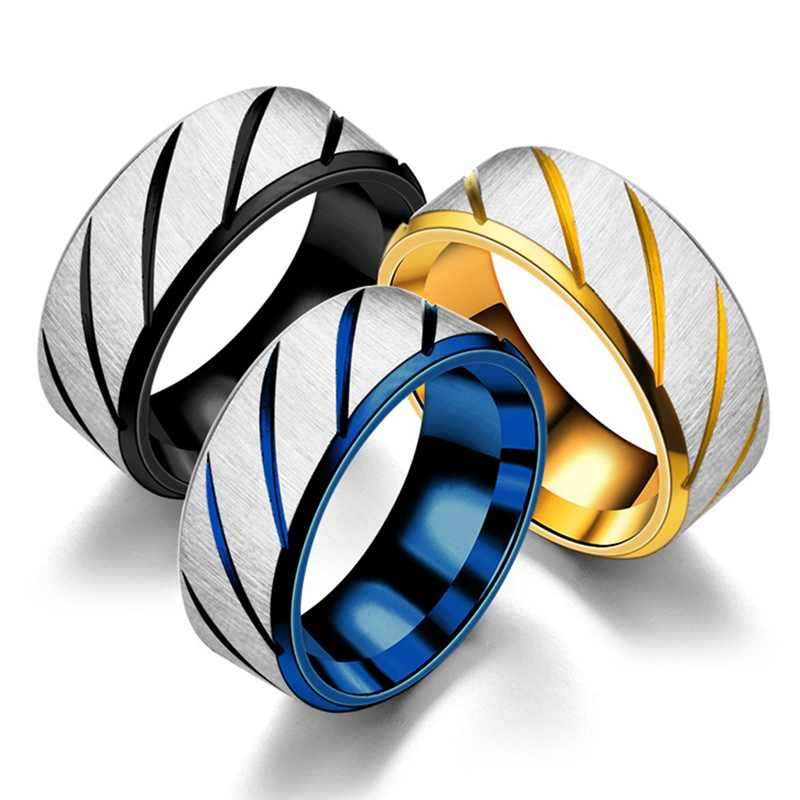 Black Blue Gold Twill Ring Titanium Band Brushed Wedding Stainless Steel Solid Ring Men Women 316L Stainless Steel Rings