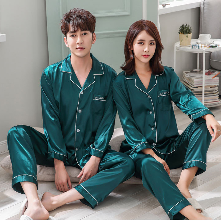 Couples Men&Women Satin   Pajamas     Set   2pcs Shirt&Pant Home Clothes Lovers Sleepwear Intimate Lingerie Pyjamas Suit M L XL XXL 3XL