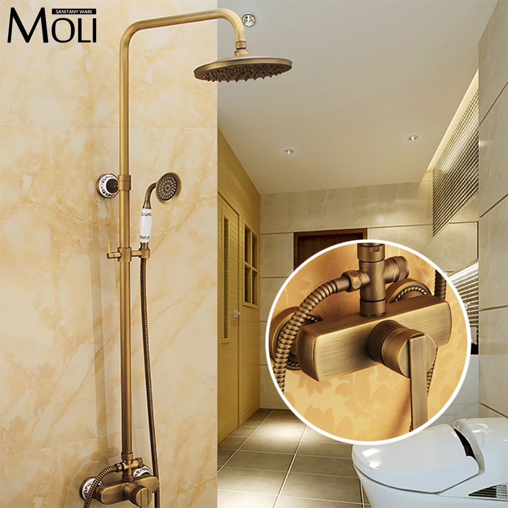 8 Inch bathroom antique brass shower faucet wall mounted rain shower set with shower head and