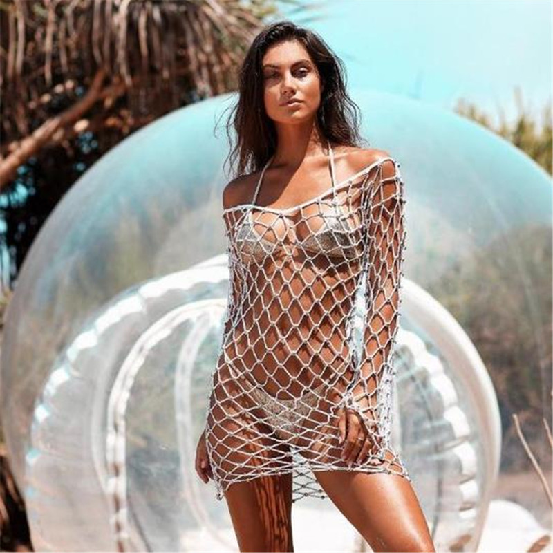 Traje de baño de la playa de la cubierta del Bikini de Ariel de la mujer-Ups ropa de playa de la protección del sol cubierta del Bikini de punto
