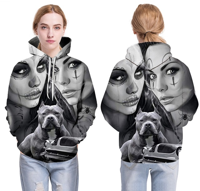 New Fashion Spring Autumn Hoodies Thin Hooded Men/women 3d Sweatshirts Cap Print Wizard Clown with dog Printing Hoody Hoodies