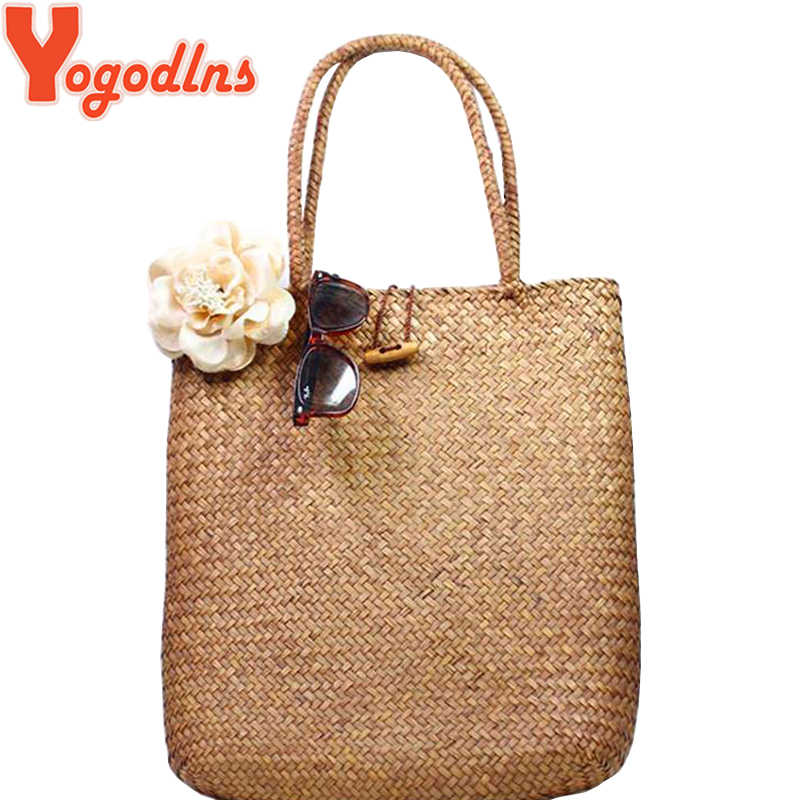 ee15fb4279f4 Detail Feedback Questions about Yogodlns Knitted Straw bag Summer ...