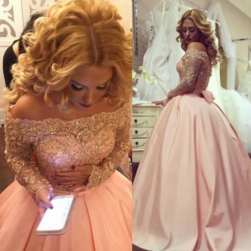 Alluring Plus Size Ball Gown Prom Dresses Bateau Neck Long Sleeves Crystal Appliques Satin Blush Pink Sparkly Evening Gowns Formal Dresses 143 (2) 5