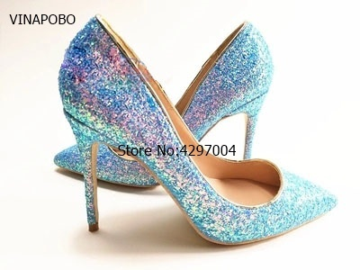VINAPOBO Woman Shoes Spring Blue Glitter Sequin Pointed Toe Ladies Pumps  Sexy 12cm Discount High Heels 7f228e5393b9