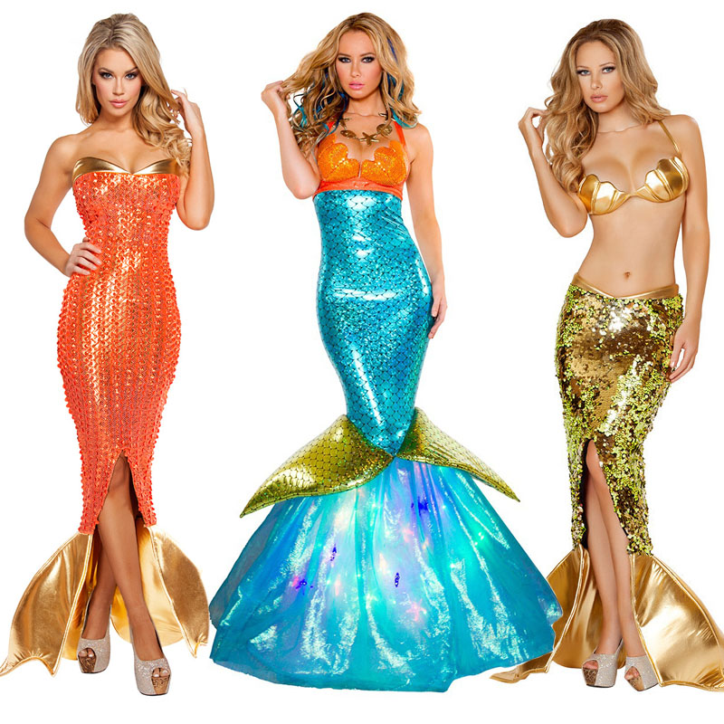 Women Party Mermaid Costume Romantic Girl Mermaid Cosplay Outfit