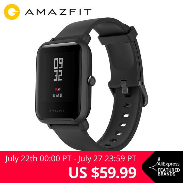 "English Version Xiaomi Huami Amazfit Bip Smart Watch Reflection Color Screen 1.28"" Baro IP68 Waterproof GPS for Android & iOS"