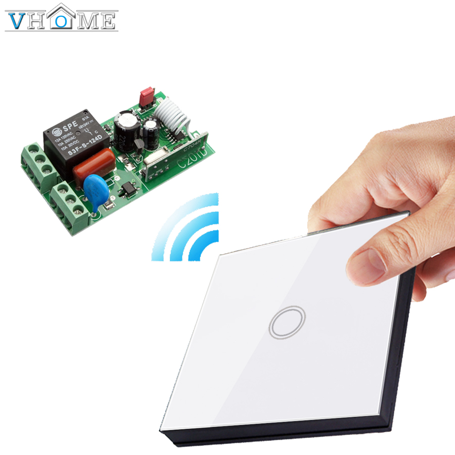 Vhome Wireless touch Button 433MHZ wall panel transmitter remote control Receiver switch For Bedroom Ceiling Lights Wall Lamps wireless service call bell system popular in restaurant ce passed 433 92mhz full equipment watch pager 1 watch 7 call button