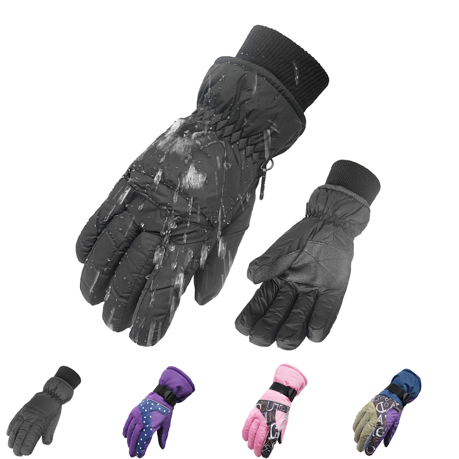 Womens leather ski gloves - New Women Men Ski Gloves Snowboard Gloves Snowmobile Motorcycle Riding Winter Gloves Windproof Waterproof Skiing Snow