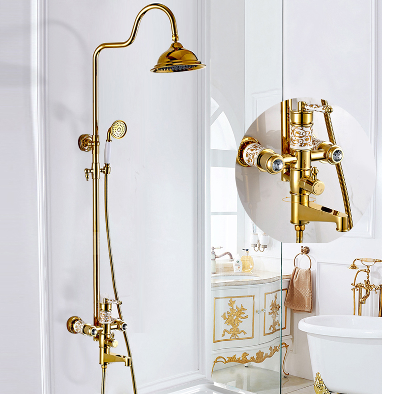 BAKALA Shower Faucet Wall Mount Brass Luxury Gold Bathtub Faucet Round Rain Shower Head Handheld Bar Bathroom Mixer Tap Set shower faucet black brass wall mount bathtub faucet rain shower handheld single handle luxury ceramics bathroom mixer tap sy 22r